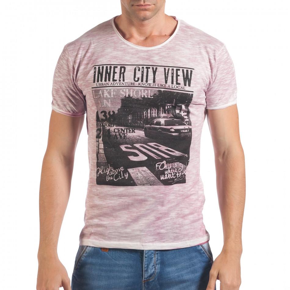 Мъжка розова тениска с принт и надпис Inner City View il060616-41