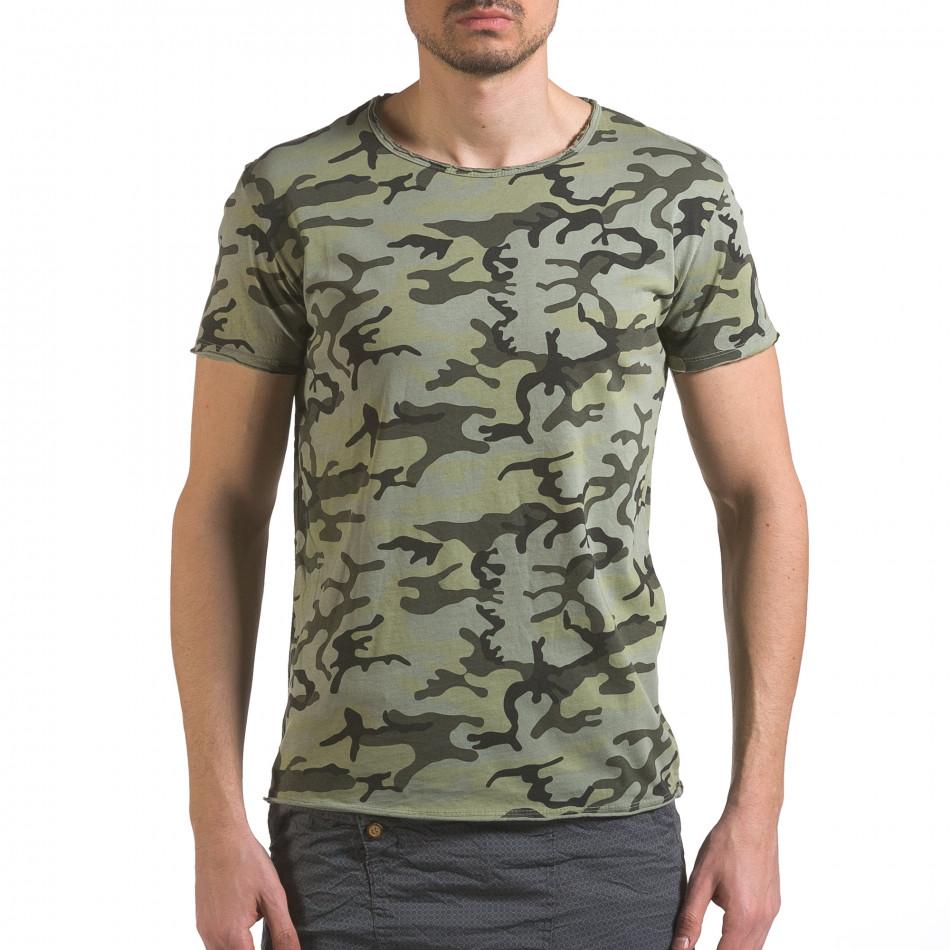Мъжка тениска тъмно зелен камуфлаж it110316-94