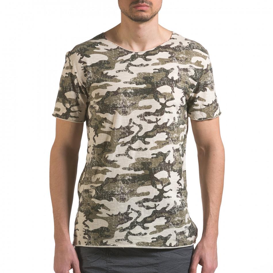 Мъжка камуфлажна тениска с леко захабен ефект it110316-92