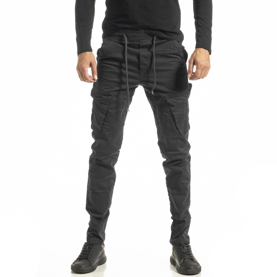 Мъжки сив Cargo панталон с прави крачоли tr180121-2