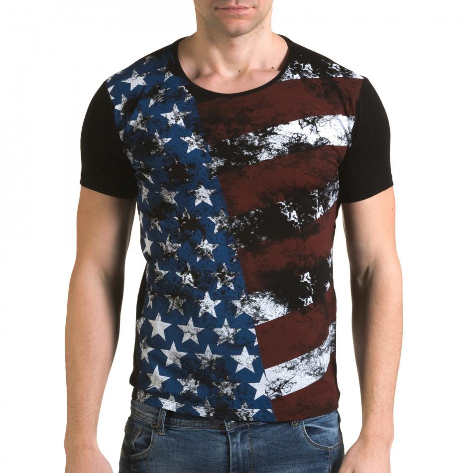 Мъжка черна тениска с Американското знаме il120216-11