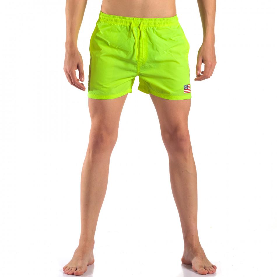 Мъжки неоново зелени бански с Американското знаме it150616-26