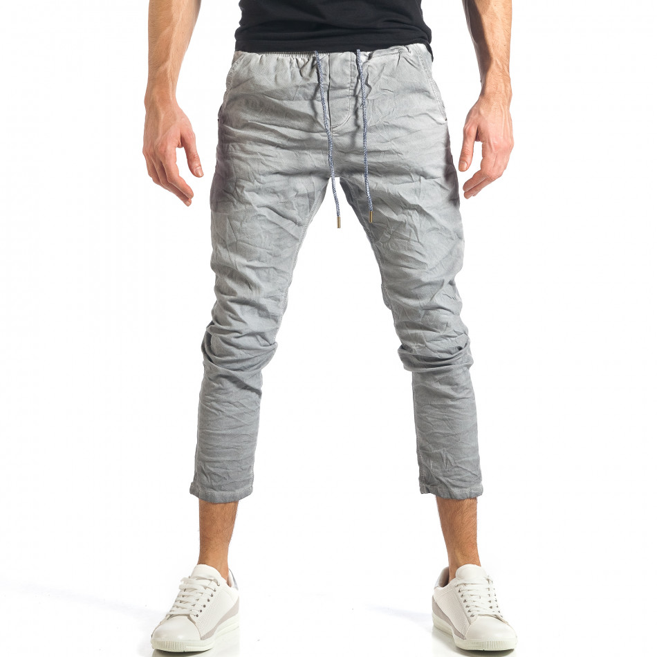 Мъжки сив лек панталон на малки точици it290118-4