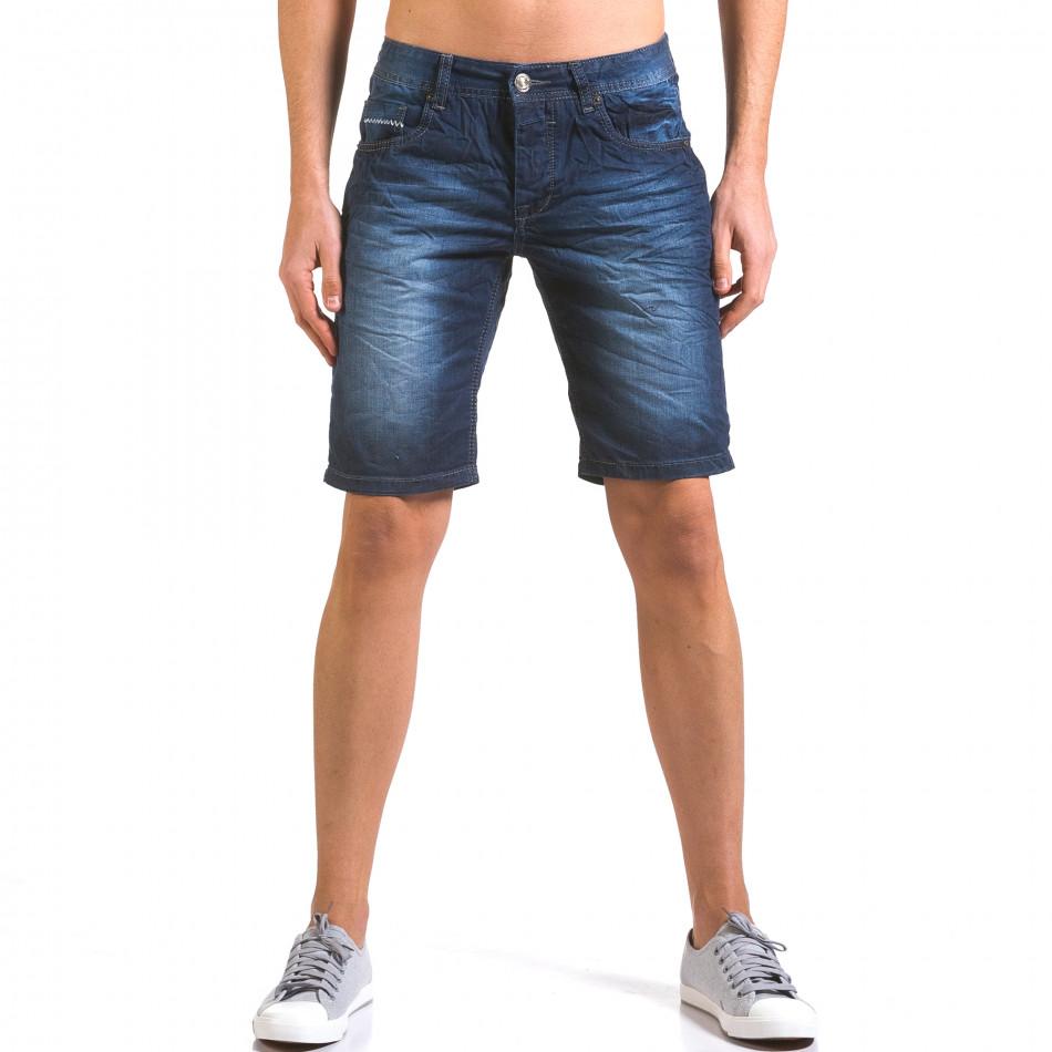 Мъжки тъмно сини къси дънки изчистен модел it160316-14