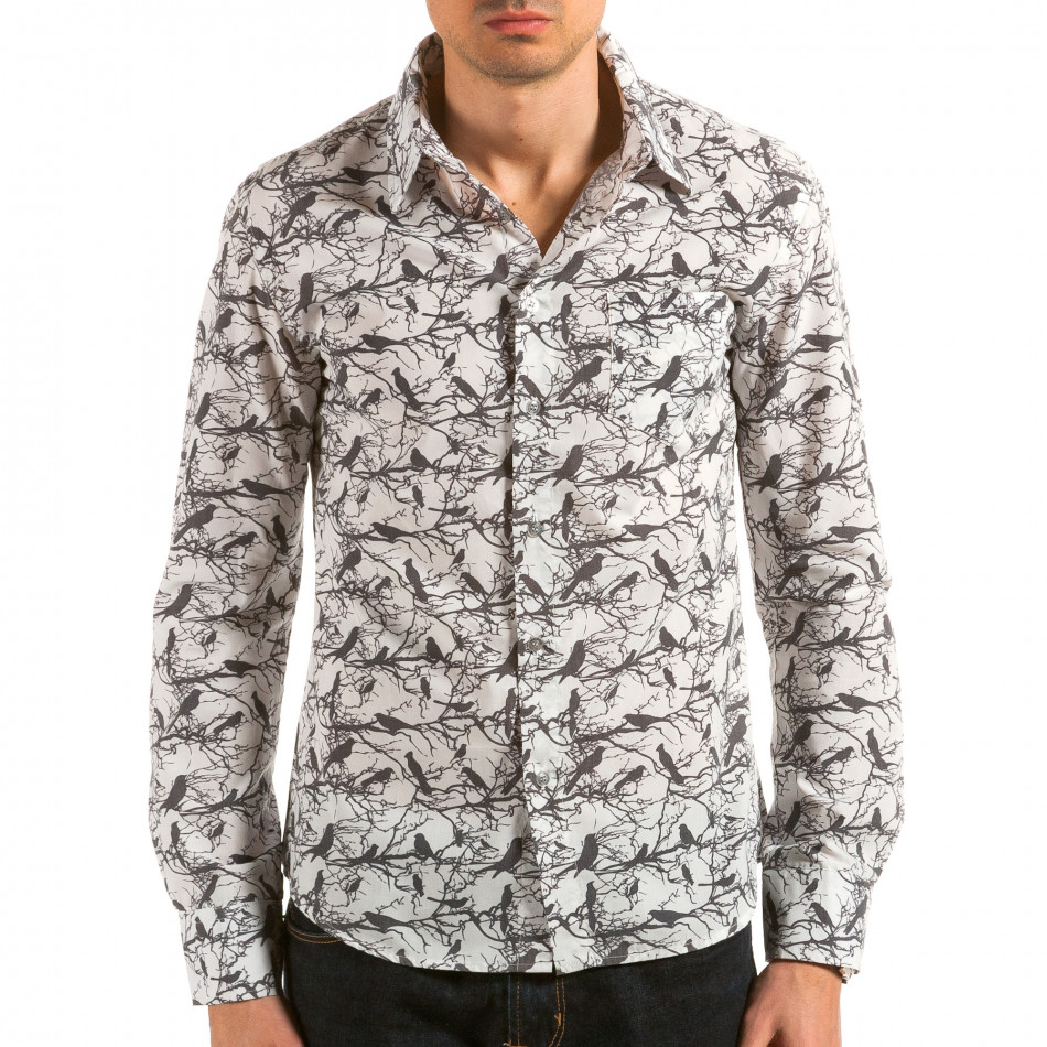 Мъжка бяла риза с черни птици и клони il180215-188
