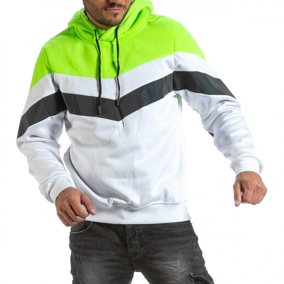 Мъжки бял суичър с контрастни детайли gr070921-46