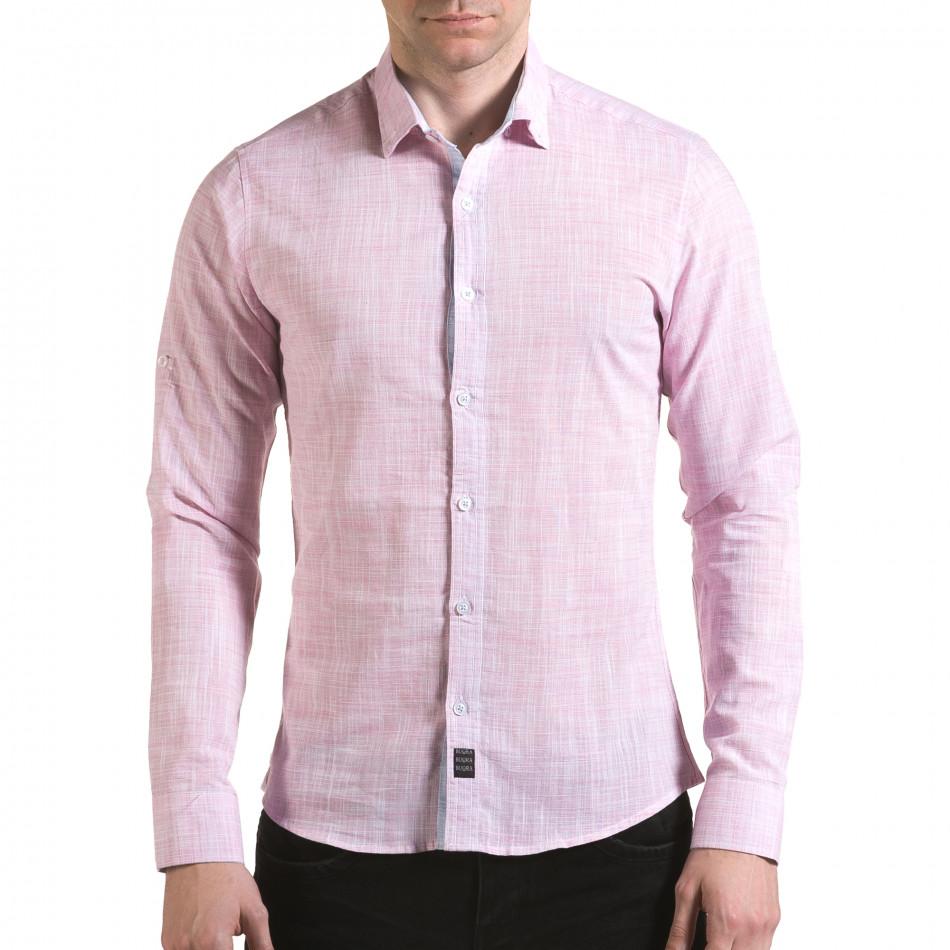 Мъжка розова риза изчистен модел il170216-124