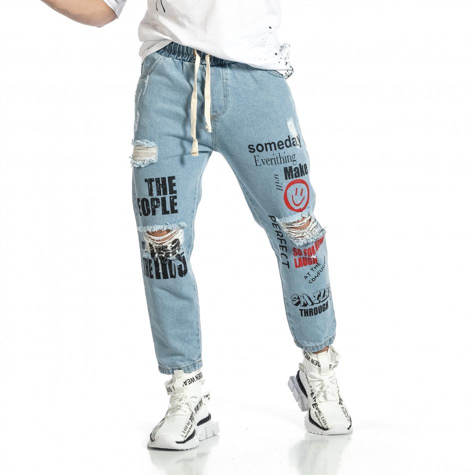 Relaxed fit мъжки сини дънки с принт it150521-41