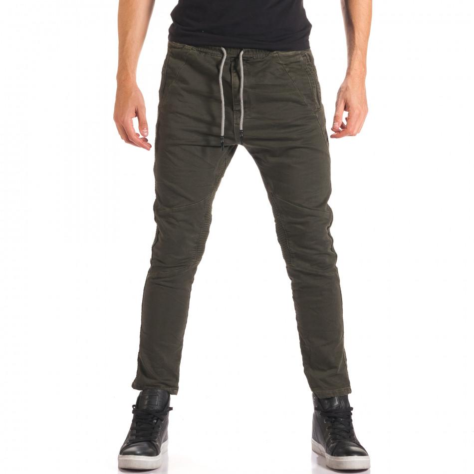 Мъжки зелен спортен панталон с допълнителни шевове it150816-10