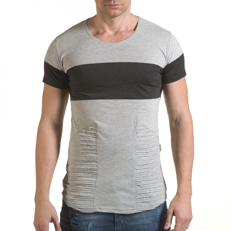 Мъжка сива тениска с тъмно сива лента il170216-73