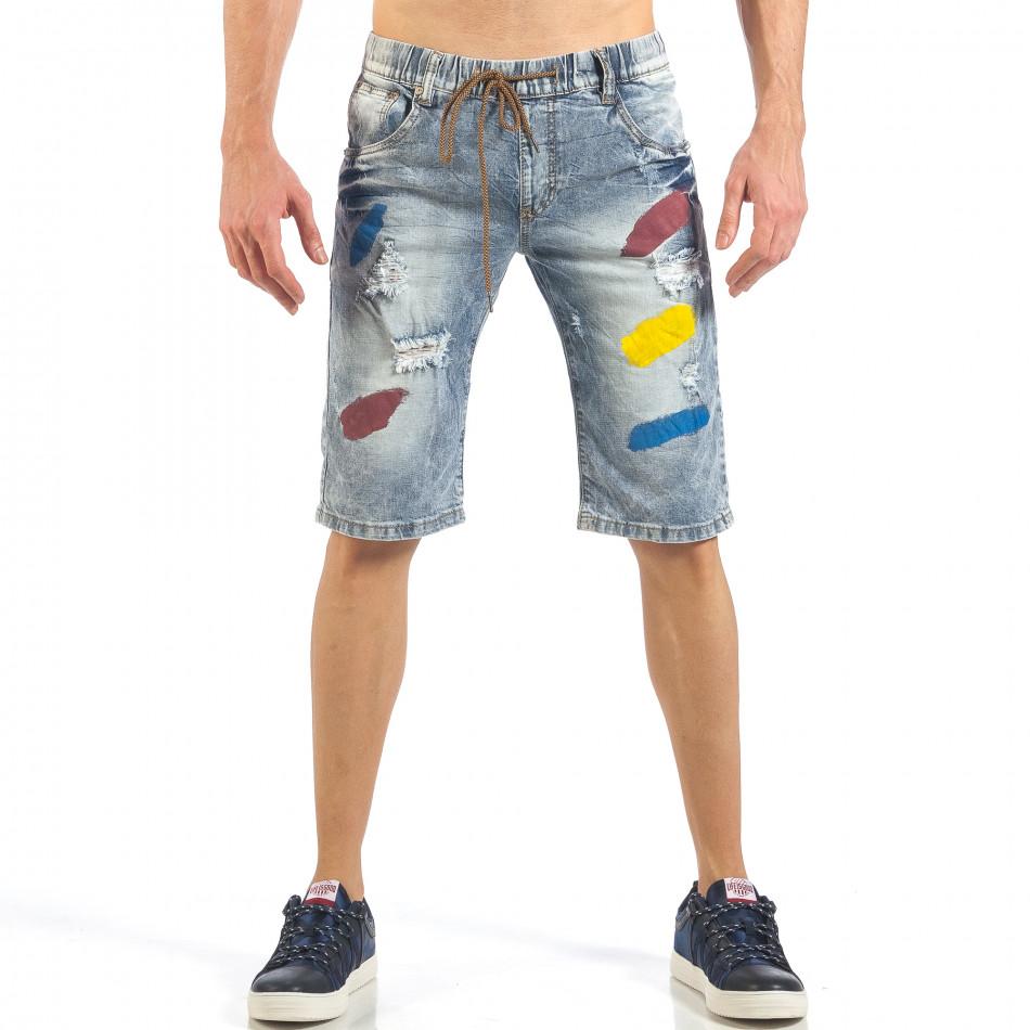 Мъжки сини къси дънки с цветни петна it260318-112