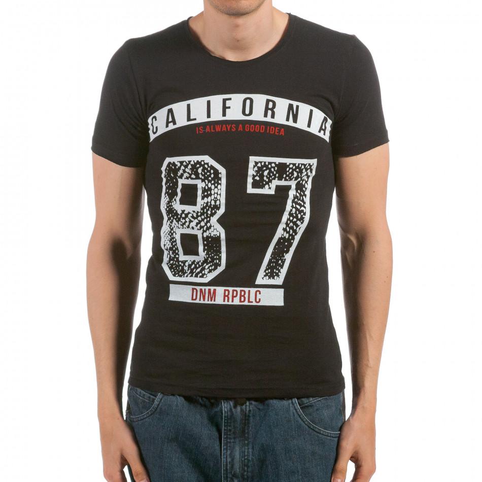Мъжка черна тениска California 87 il120515-101