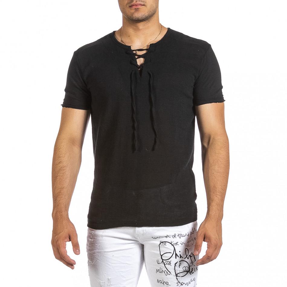 Текстурирана черна тениска с връзка it240621-7