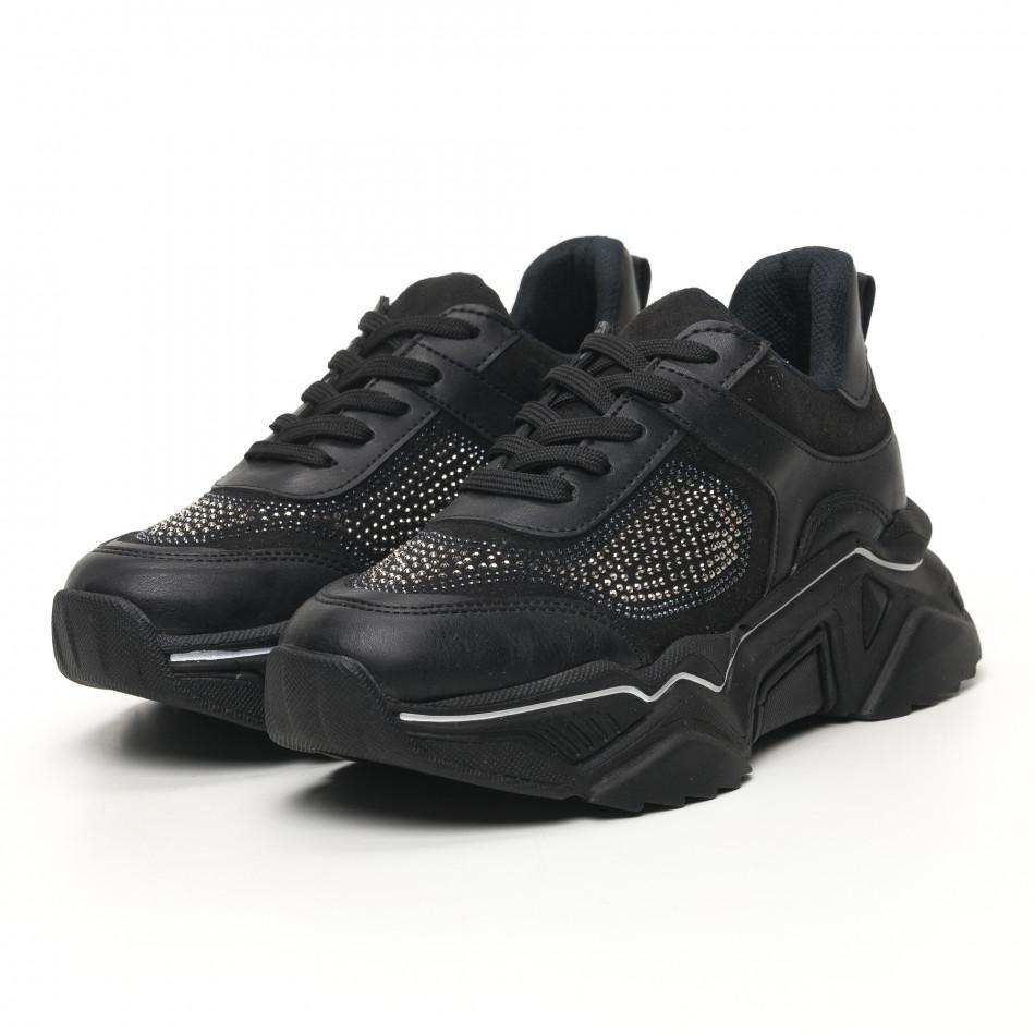 Дамски черни маратонки с камъчета tr180320-17