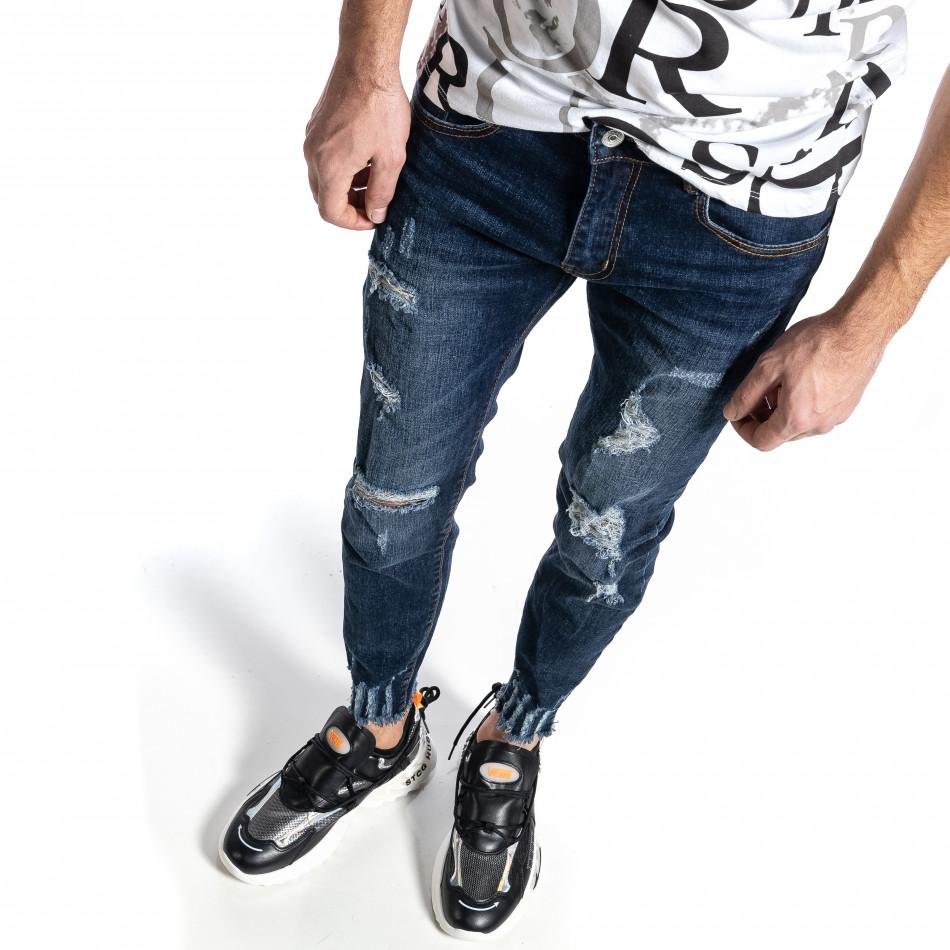 Мъжки сини дънки с прокъсвания Capri fit it010221-39
