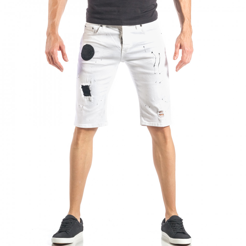 Бели мъжки къси дънки с черни пръски и кръпки it040518-79