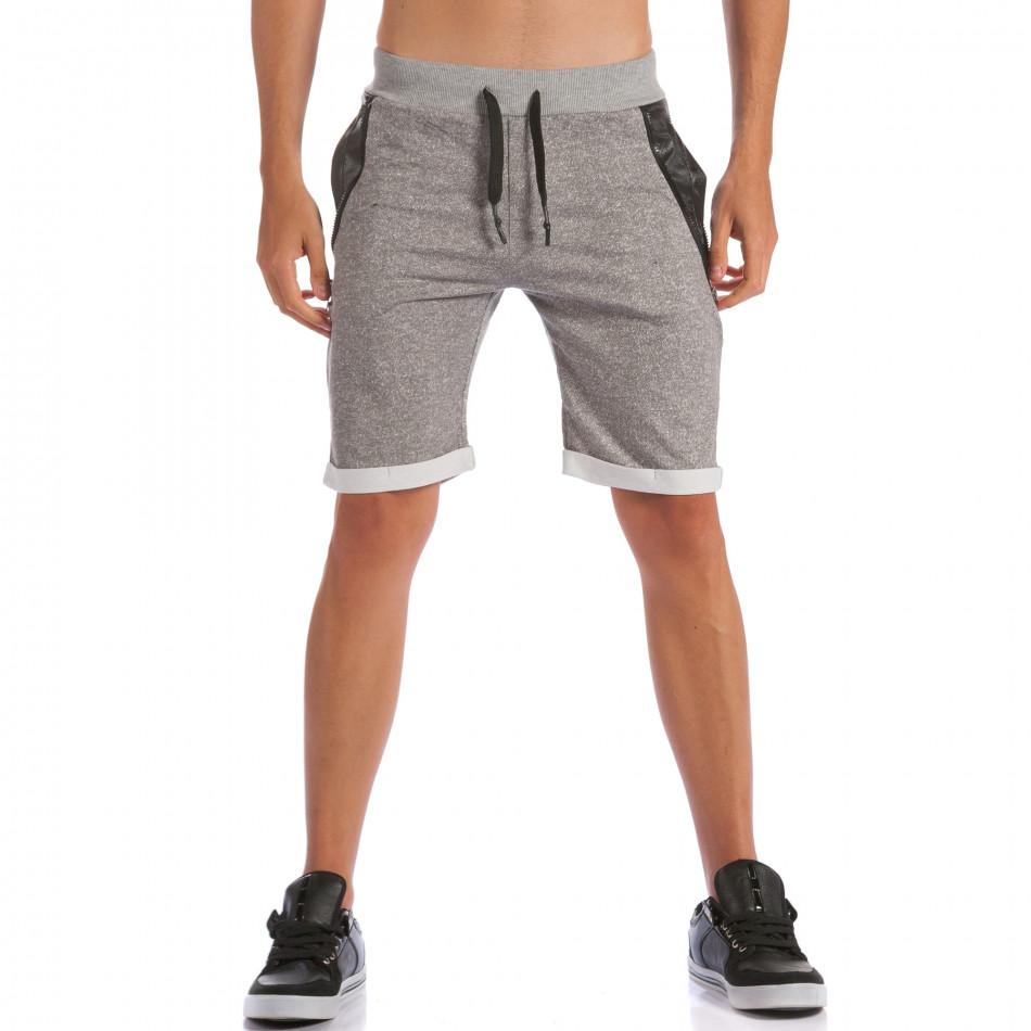 Мъжки сиви шорти с кожени части до джобовете ca100615-19