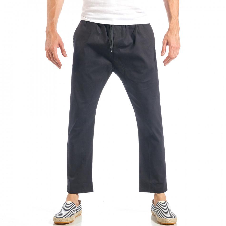 Мъжки свободен панталон в черно с ластик it040518-17