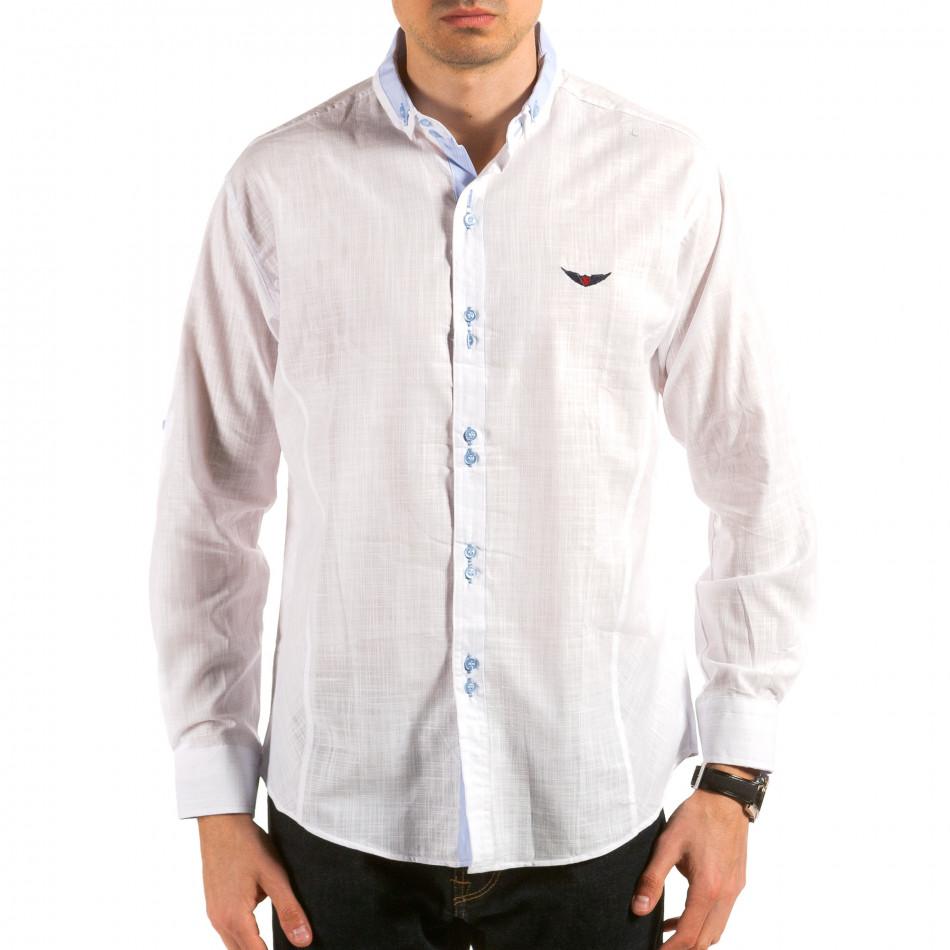Мъжка бяла риза с раирана яка il180215-173