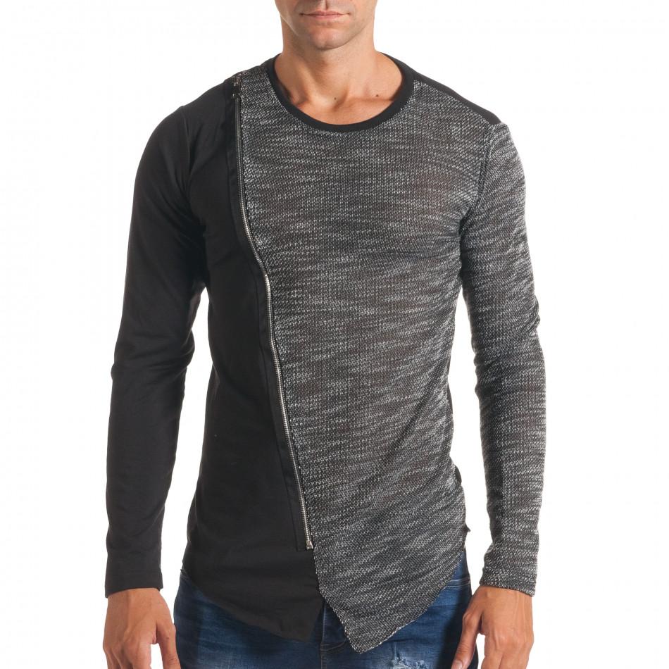 Мъжка черна блуза с тъмно сива част и цип it180816-8