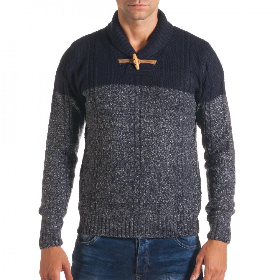 Мъжки син зимен пуловер с копче на яката it170816-32