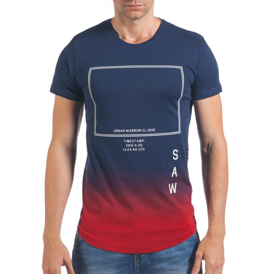 Мъжка синя тениска с червено в края il060616-26