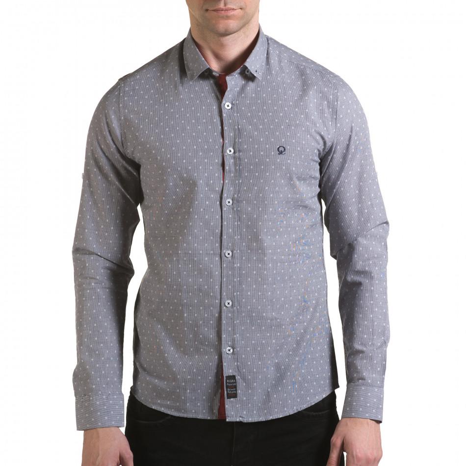Мъжка сива риза на фини квадратчета с лого il170216-106
