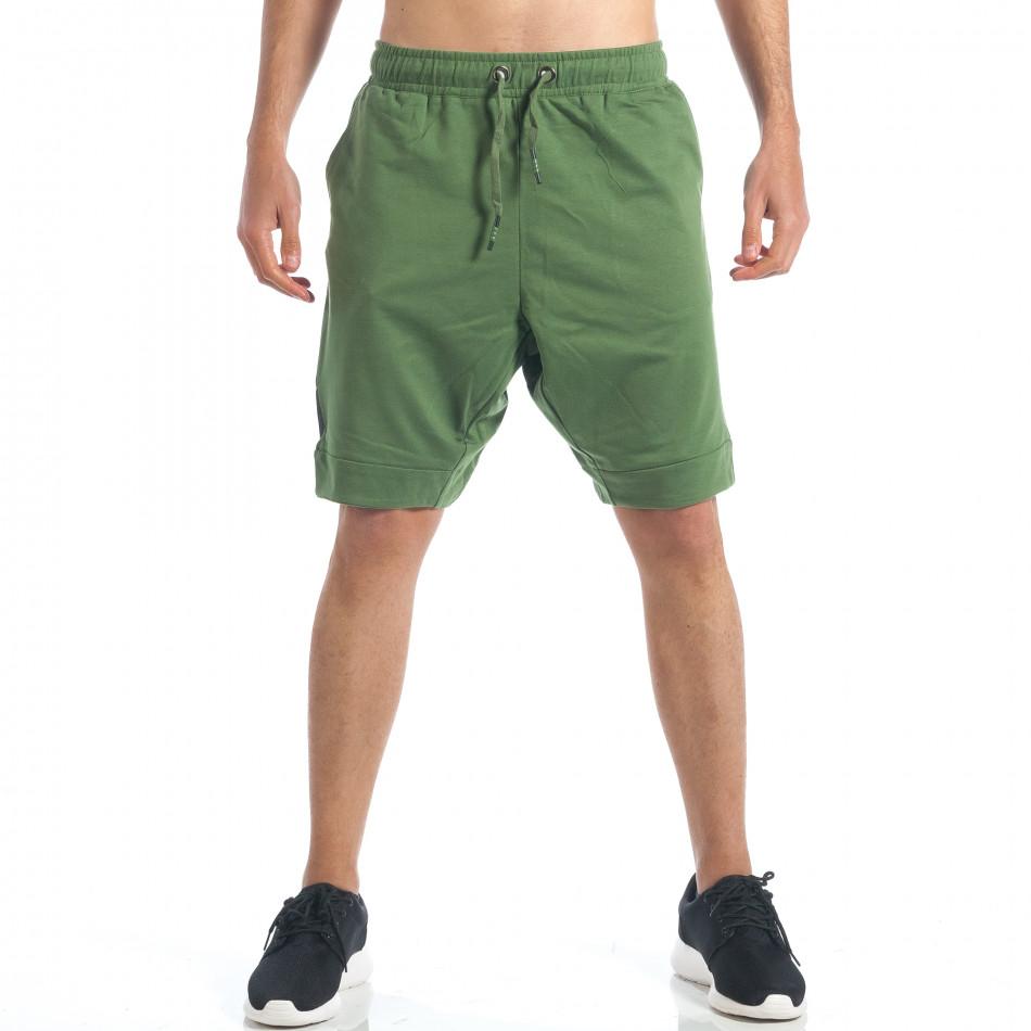 Мъжки зелени шорти с декоративен цип it190417-17