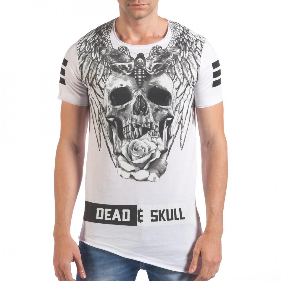Мъжка бяла тениска с голям череп отпред il060616-72