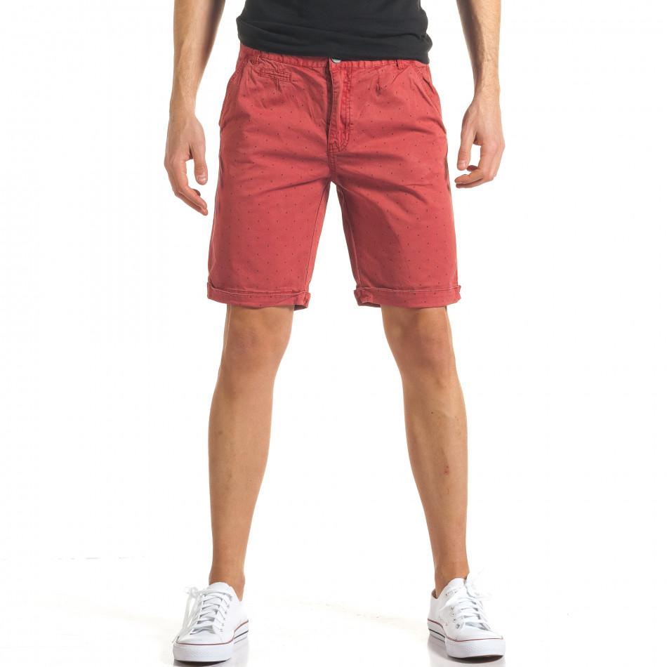 Мъжки червени къси панталони с малки черни точки it140317-155