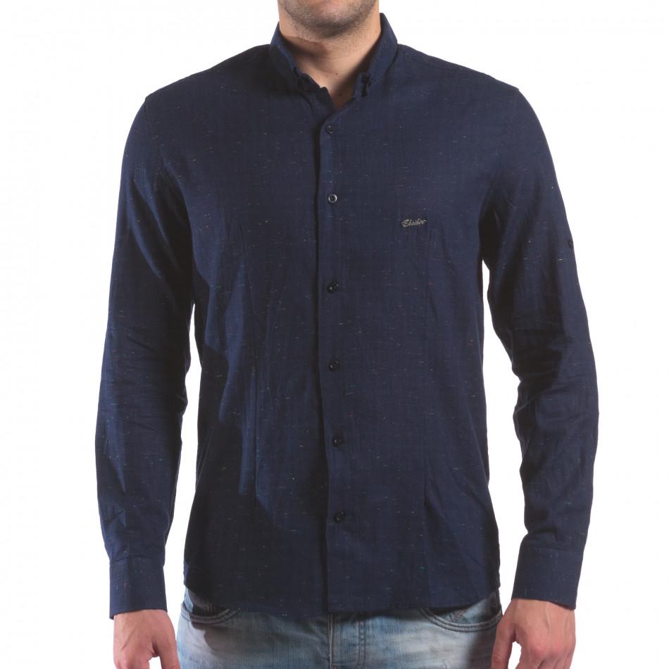 Мъжка синя риза с малки разноцветни детайли il210616-29