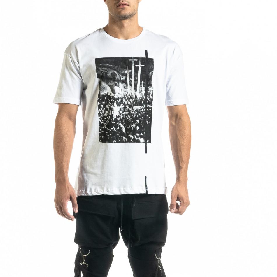 Мъжка бяла тениска с кръстове tr020920-23