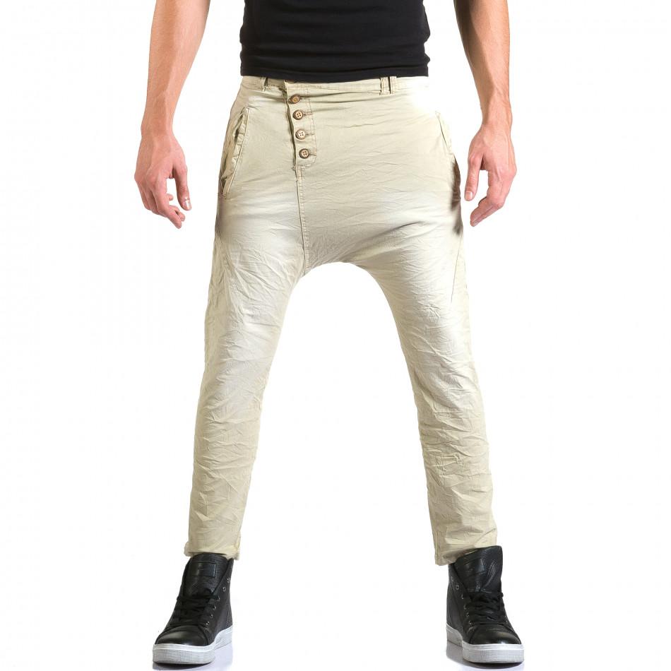 Мъжки бежов панталон със смъкнато дъно и копчета it211015-15