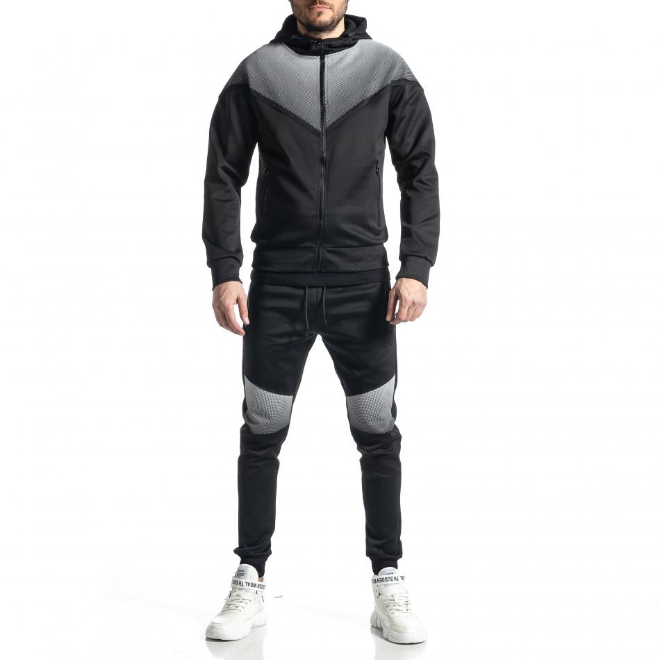 Мъжки черен анцуг Biker style it010221-53