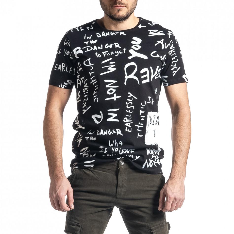 Мъжка черна тениска с принт tr010221-13