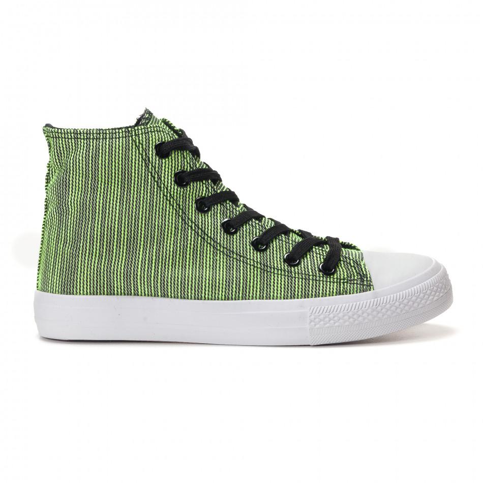 Мъжки високи зелени кецове на фино черно райе it250118-15