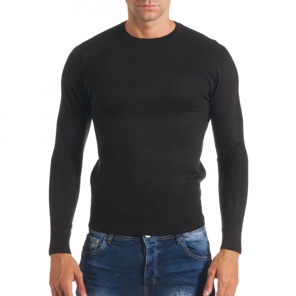 Мъжки черен изчистен пуловер с обло деколте it170816-40