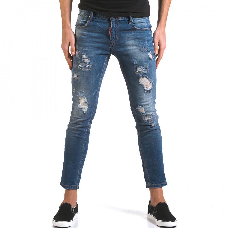 Мъжки сини дънки слим с прокъсвания и шевове it160316-3