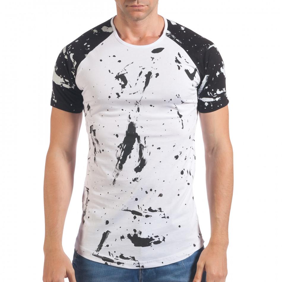 Мъжка бяла тениска с черни ръкави il060616-76