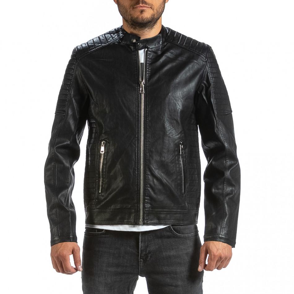 Рокерско черно кожено яке с капитонирани детайли il070921-32
