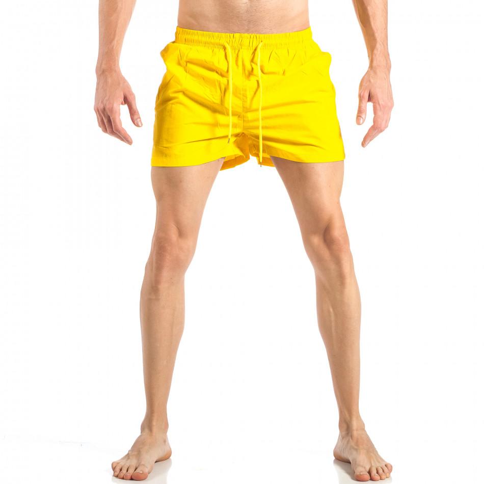 Мъжки жълт бански с трицветна лента it040518-93