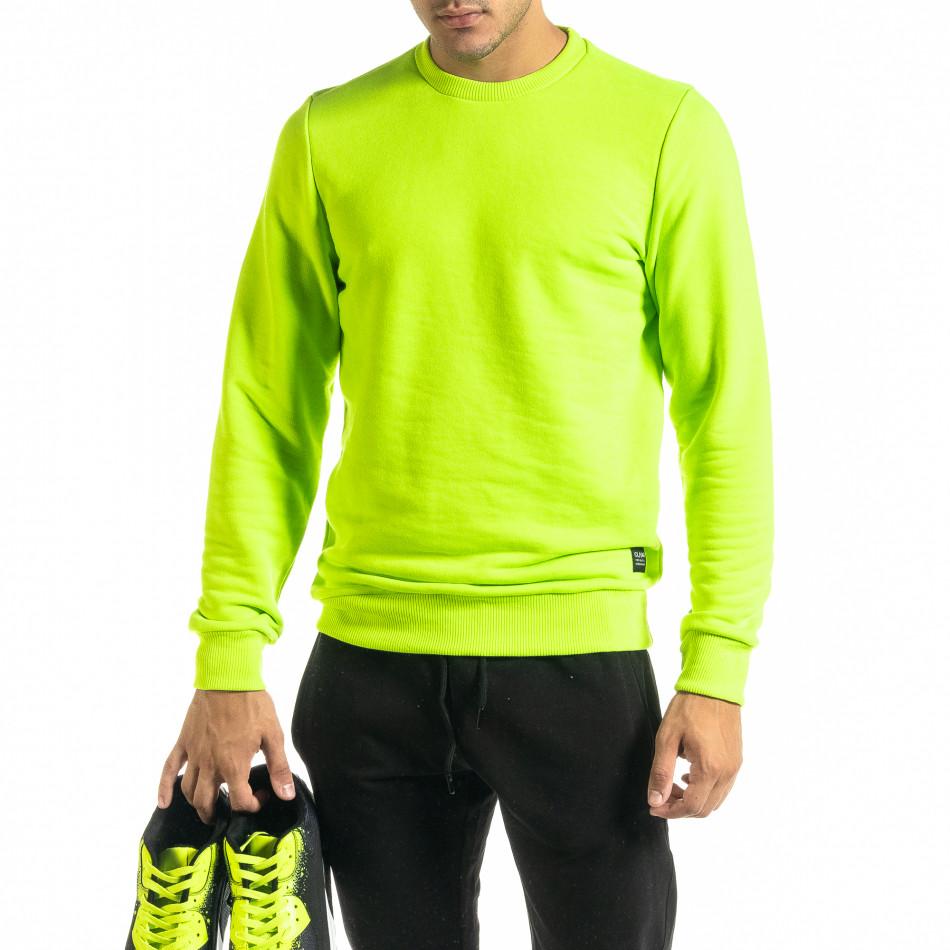 Basic мъжка памучна блуза неоново зелено tr020920-44
