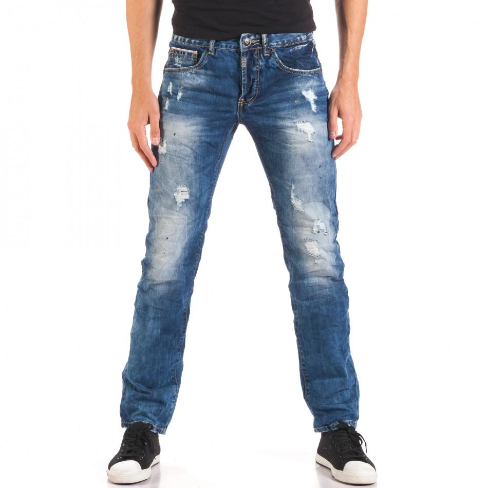 Мъжки дънки със скъсвания и пръски боя it150816-6