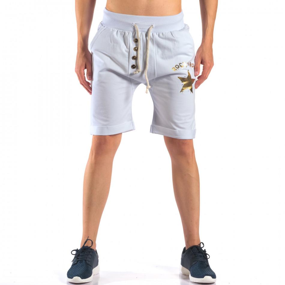 Мъжки бели шорти със златна звезда it160616-13