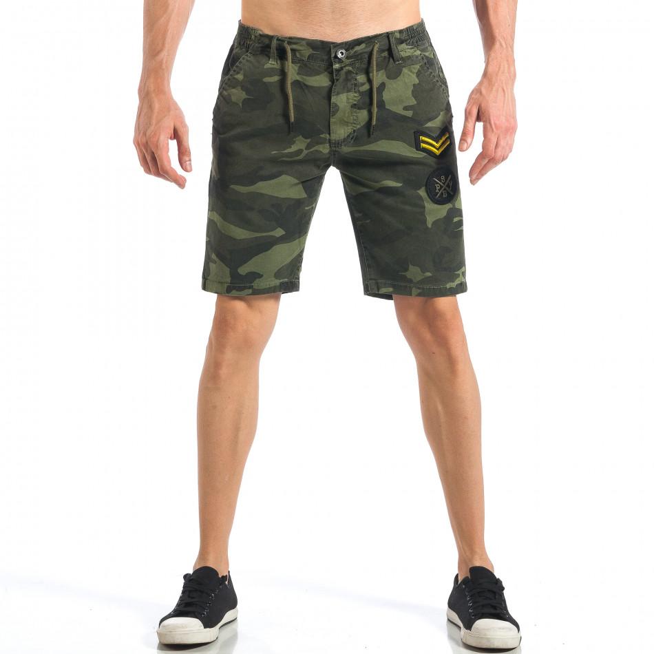 Мъжки камуфлажни къси панталони с емблеми  it110418-27