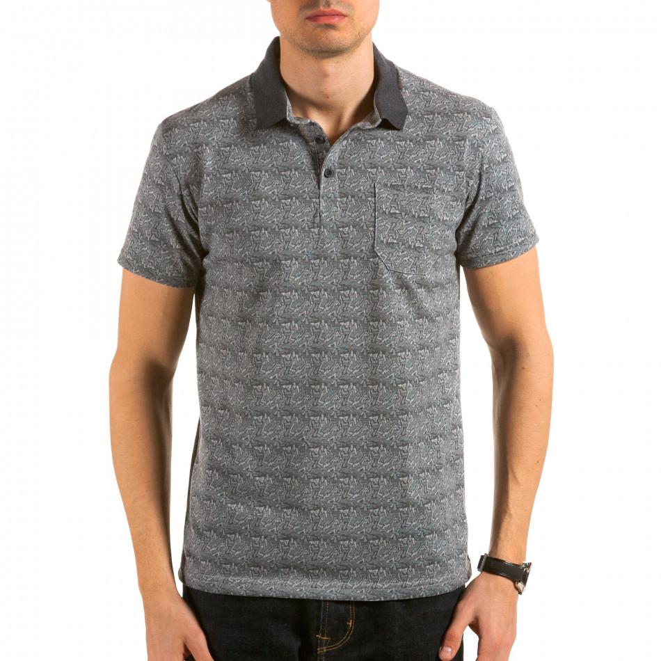Мъжка сива тениска с яка с малки стрелкички il180215-105