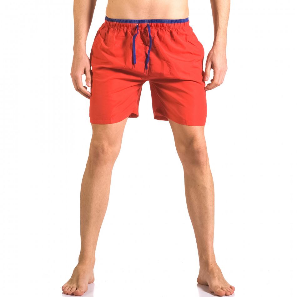 Мъжки червени бански шорти с връзки на кръста ca050416-27