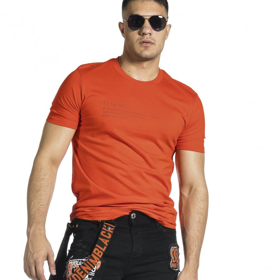 Мъжка червена тениска с гумиран принт tr150521-6