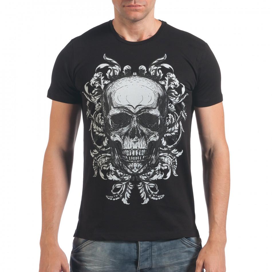 Мъжка черна тениска с череп il060616-33