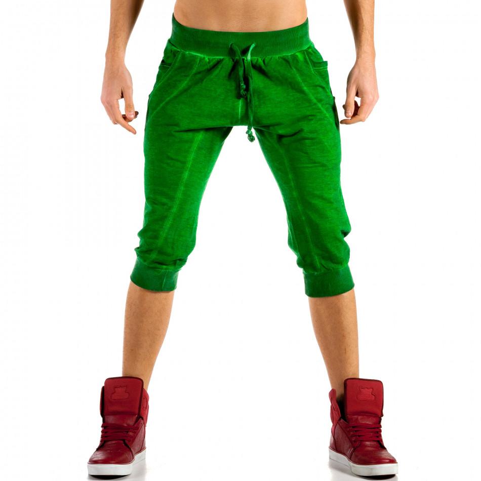 Мъжки зелени къси панталони с изтрит ефект ca100514-16